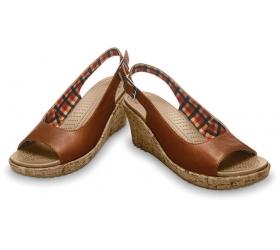 A Leigh Wedge Leather – Cocoa | Sepatu Sendal Crocs